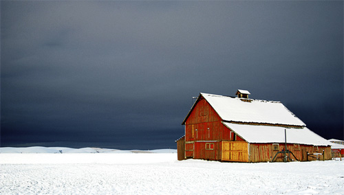 Dark Sky Looms Over Barn