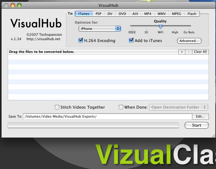 VisualHub Screenshot